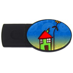 Colorful Illustration Of A Doodle House USB Flash Drive Oval (4 GB)