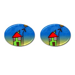 Colorful Illustration Of A Doodle House Cufflinks (oval)
