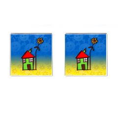 Colorful Illustration Of A Doodle House Cufflinks (Square)