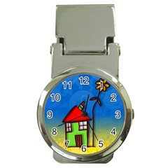 Colorful Illustration Of A Doodle House Money Clip Watches