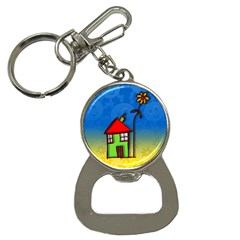 Colorful Illustration Of A Doodle House Button Necklaces