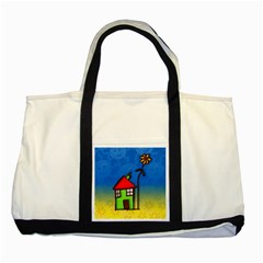 Colorful Illustration Of A Doodle House Two Tone Tote Bag