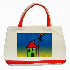 Colorful Illustration Of A Doodle House Classic Tote Bag (Red)