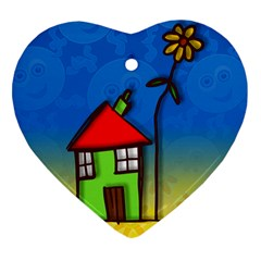 Colorful Illustration Of A Doodle House Heart Ornament (Two Sides)