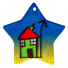 Colorful Illustration Of A Doodle House Star Ornament (two Sides)