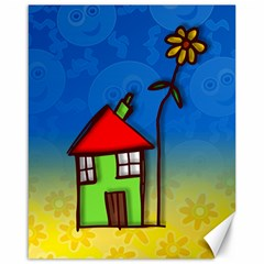 Colorful Illustration Of A Doodle House Canvas 16  x 20