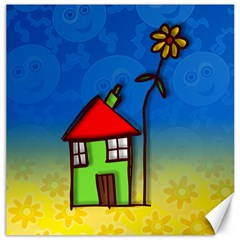 Colorful Illustration Of A Doodle House Canvas 20  x 20