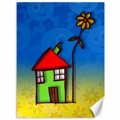 Colorful Illustration Of A Doodle House Canvas 36  x 48