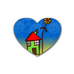 Colorful Illustration Of A Doodle House Rubber Coaster (Heart)