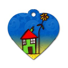 Colorful Illustration Of A Doodle House Dog Tag Heart (Two Sides)