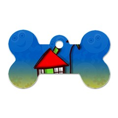 Colorful Illustration Of A Doodle House Dog Tag Bone (One Side)