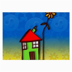 Colorful Illustration Of A Doodle House Large Glasses Cloth