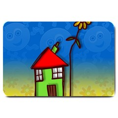 Colorful Illustration Of A Doodle House Large Doormat
