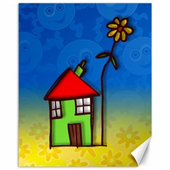 Colorful Illustration Of A Doodle House Canvas 11  x 14