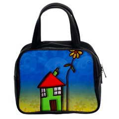 Colorful Illustration Of A Doodle House Classic Handbags (2 Sides)