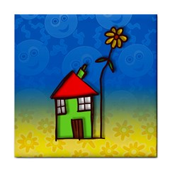 Colorful Illustration Of A Doodle House Face Towel