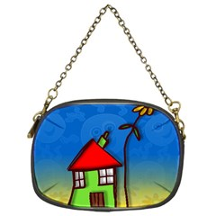 Colorful Illustration Of A Doodle House Chain Purses (one Side)