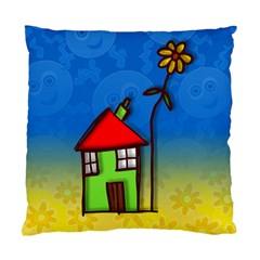 Colorful Illustration Of A Doodle House Standard Cushion Case (Two Sides)