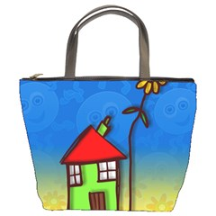 Colorful Illustration Of A Doodle House Bucket Bags