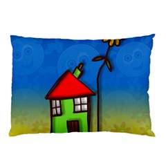 Colorful Illustration Of A Doodle House Pillow Case