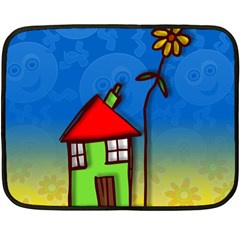 Colorful Illustration Of A Doodle House Double Sided Fleece Blanket (Mini)