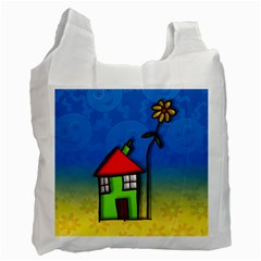 Colorful Illustration Of A Doodle House Recycle Bag (one Side)