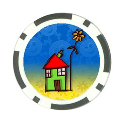 Colorful Illustration Of A Doodle House Poker Chip Card Guard (10 pack)