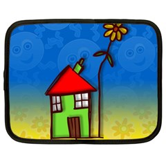 Colorful Illustration Of A Doodle House Netbook Case (XL)