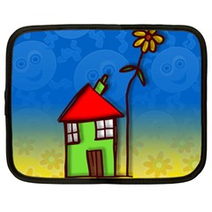 Colorful Illustration Of A Doodle House Netbook Case (xxl)
