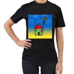 Colorful Illustration Of A Doodle House Women s T-Shirt (Black)
