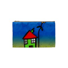 Colorful Illustration Of A Doodle House Cosmetic Bag (Small)