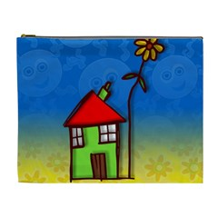 Colorful Illustration Of A Doodle House Cosmetic Bag (xl)
