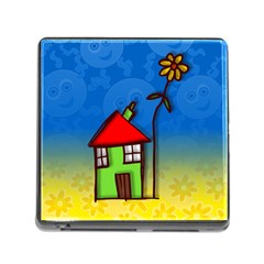 Colorful Illustration Of A Doodle House Memory Card Reader (Square)