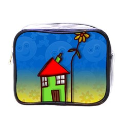Colorful Illustration Of A Doodle House Mini Toiletries Bags