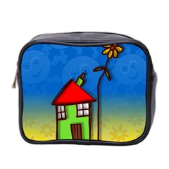 Colorful Illustration Of A Doodle House Mini Toiletries Bag 2-Side