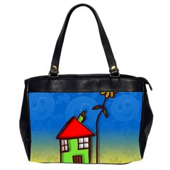Colorful Illustration Of A Doodle House Office Handbags (2 Sides)