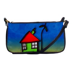 Colorful Illustration Of A Doodle House Shoulder Clutch Bags