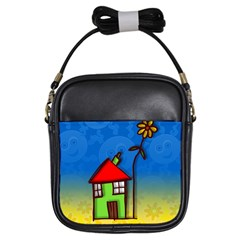 Colorful Illustration Of A Doodle House Girls Sling Bags