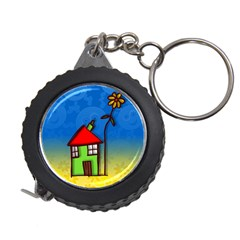 Colorful Illustration Of A Doodle House Measuring Tapes