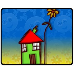 Colorful Illustration Of A Doodle House Fleece Blanket (Medium)