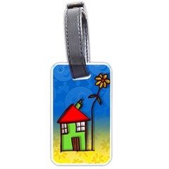 Colorful Illustration Of A Doodle House Luggage Tags (two Sides)