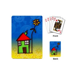 Colorful Illustration Of A Doodle House Playing Cards (Mini)