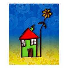 Colorful Illustration Of A Doodle House Shower Curtain 60  X 72  (medium)