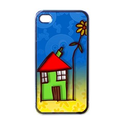 Colorful Illustration Of A Doodle House Apple iPhone 4 Case (Black)