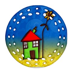 Colorful Illustration Of A Doodle House Ornament (Round Filigree)