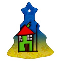 Colorful Illustration Of A Doodle House Ornament (Christmas Tree)