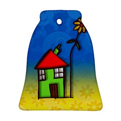 Colorful Illustration Of A Doodle House Bell Ornament (Two Sides)