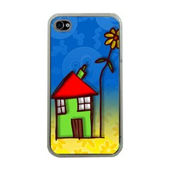 Colorful Illustration Of A Doodle House Apple iPhone 4 Case (Clear)