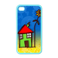Colorful Illustration Of A Doodle House Apple iPhone 4 Case (Color)