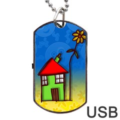 Colorful Illustration Of A Doodle House Dog Tag USB Flash (Two Sides)